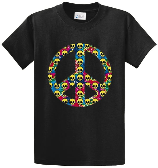 Peace Sign Skulls Printed Tee Shirt