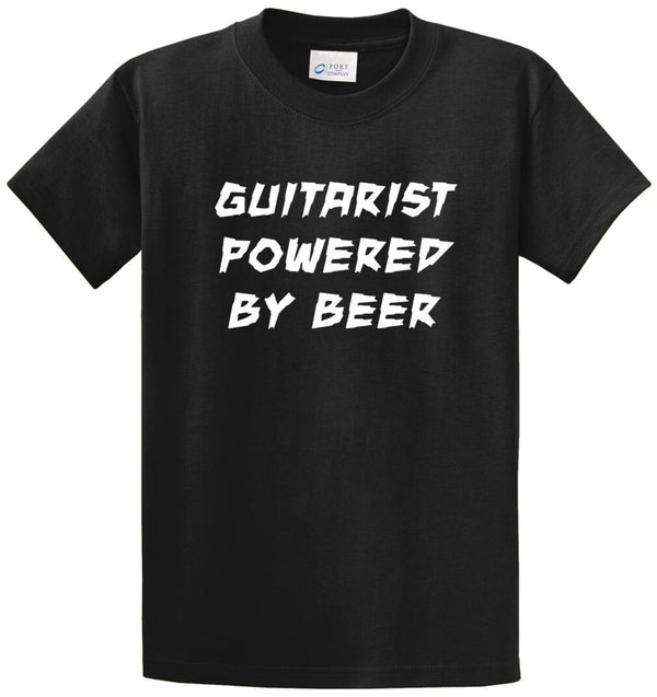Guitarist Powered By Beer Printed Tee Shirt
