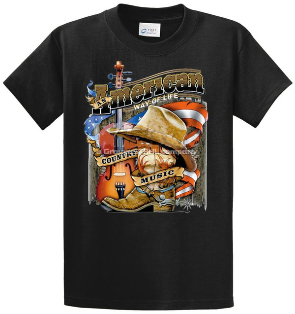 American Way Of Life-Cty Music  Printed Tee Shirt