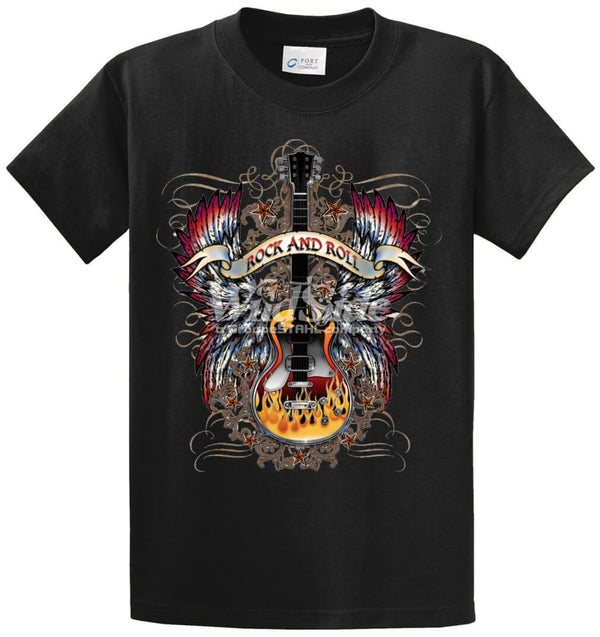 Rock And Roll Guitar Printed Tee Shirt