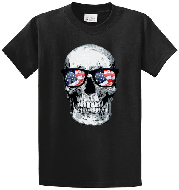 Skull With U.S.A. Flag Glasses Printed Tee Shirt