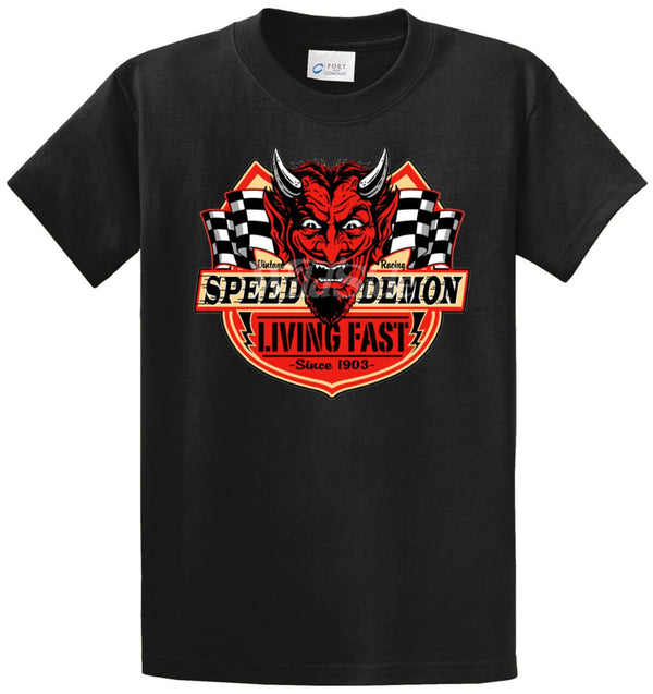Speed Demon Living Fast Printed Tee Shirt