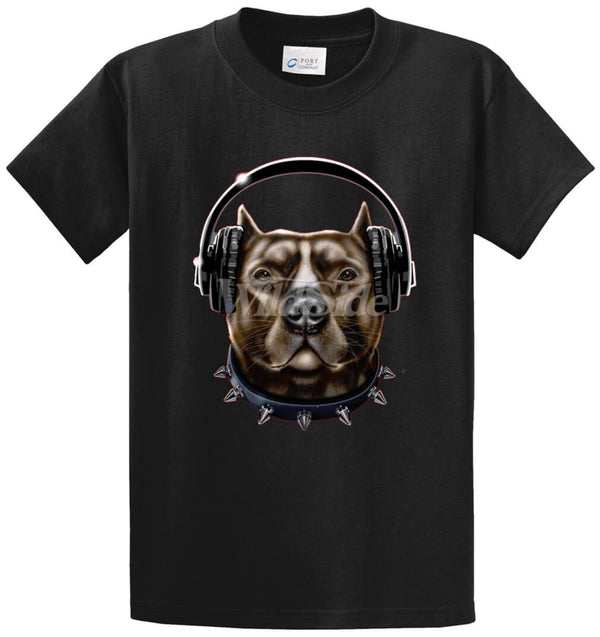 Pitbull Wearing Headphones Printed Tee Shirt