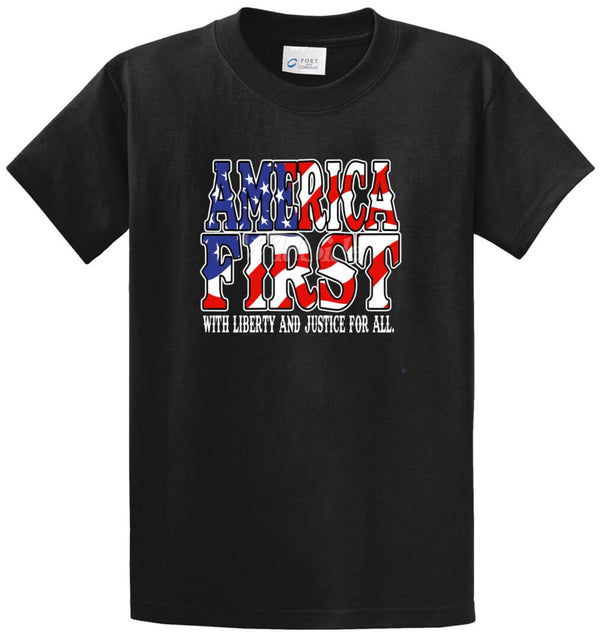 America First Liberty Justice Printed Tee Shirt