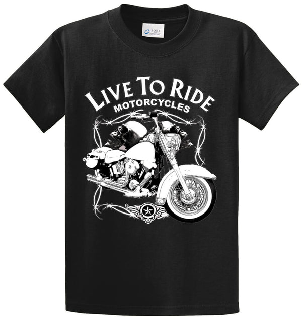 Live To Ride Motorcycles Printed Tee Shirt