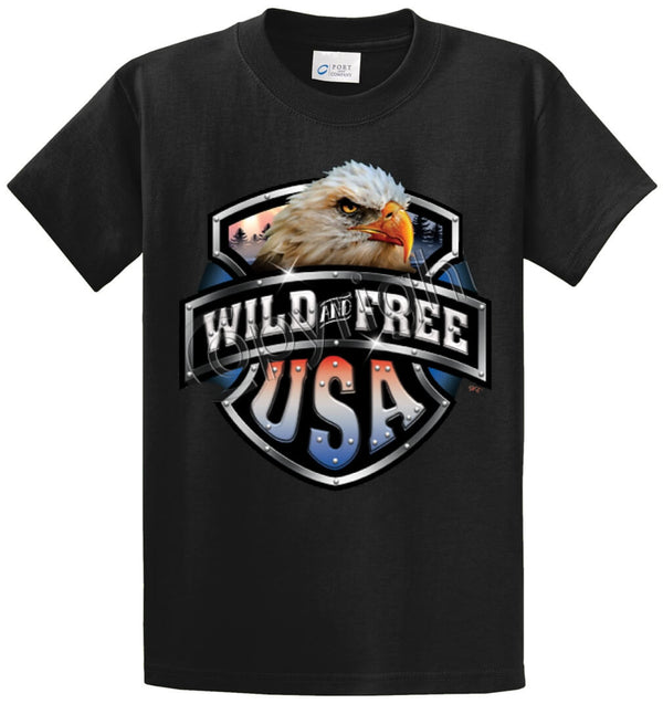 Wild & Free-Eagle/Shield Printed Tee Shirt