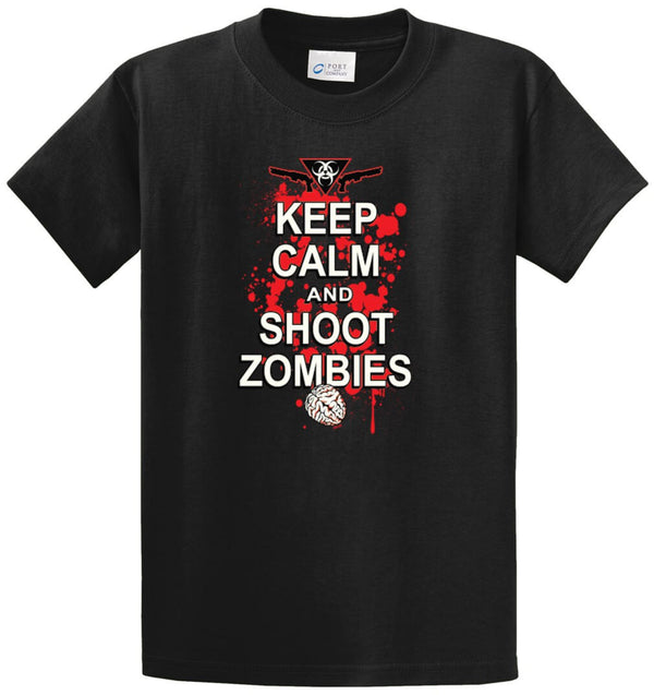 Keep Calm And Shoot Zombies Printed Tee Shirt