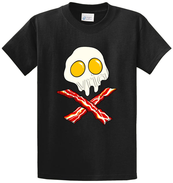 Eggs Skull Bacon Crossbones Printed Tee Shirt