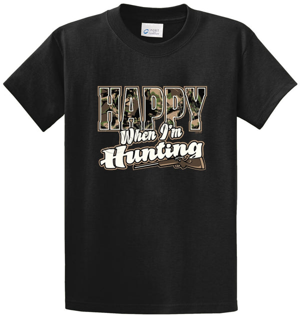 Happy When I'm Hunting Printed Tee Shirt