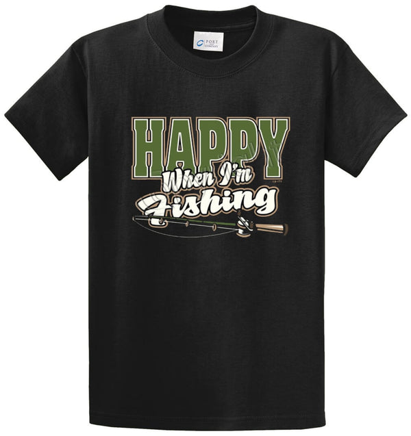 Happy When I'm Fishing Printed Tee Shirt