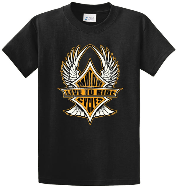 Live To Ride Motorcycles-Wings Printed Tee Shirt