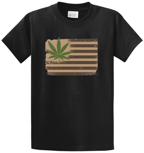 Pot Leaf Flag Printed Tee Shirt