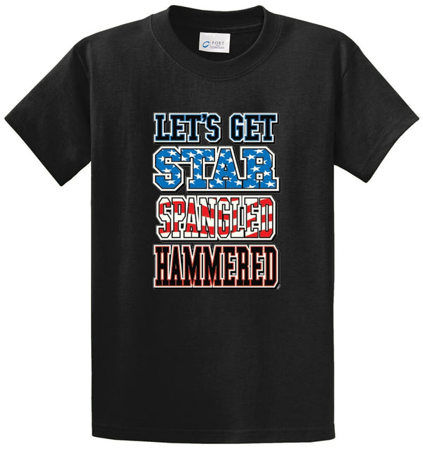 Lets Get Star Spangled Hammered Printed Tee Shirt