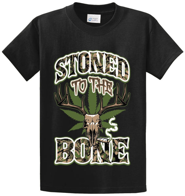 Stoned To The Bone Deer Skull Camo Printed Tee Shirt