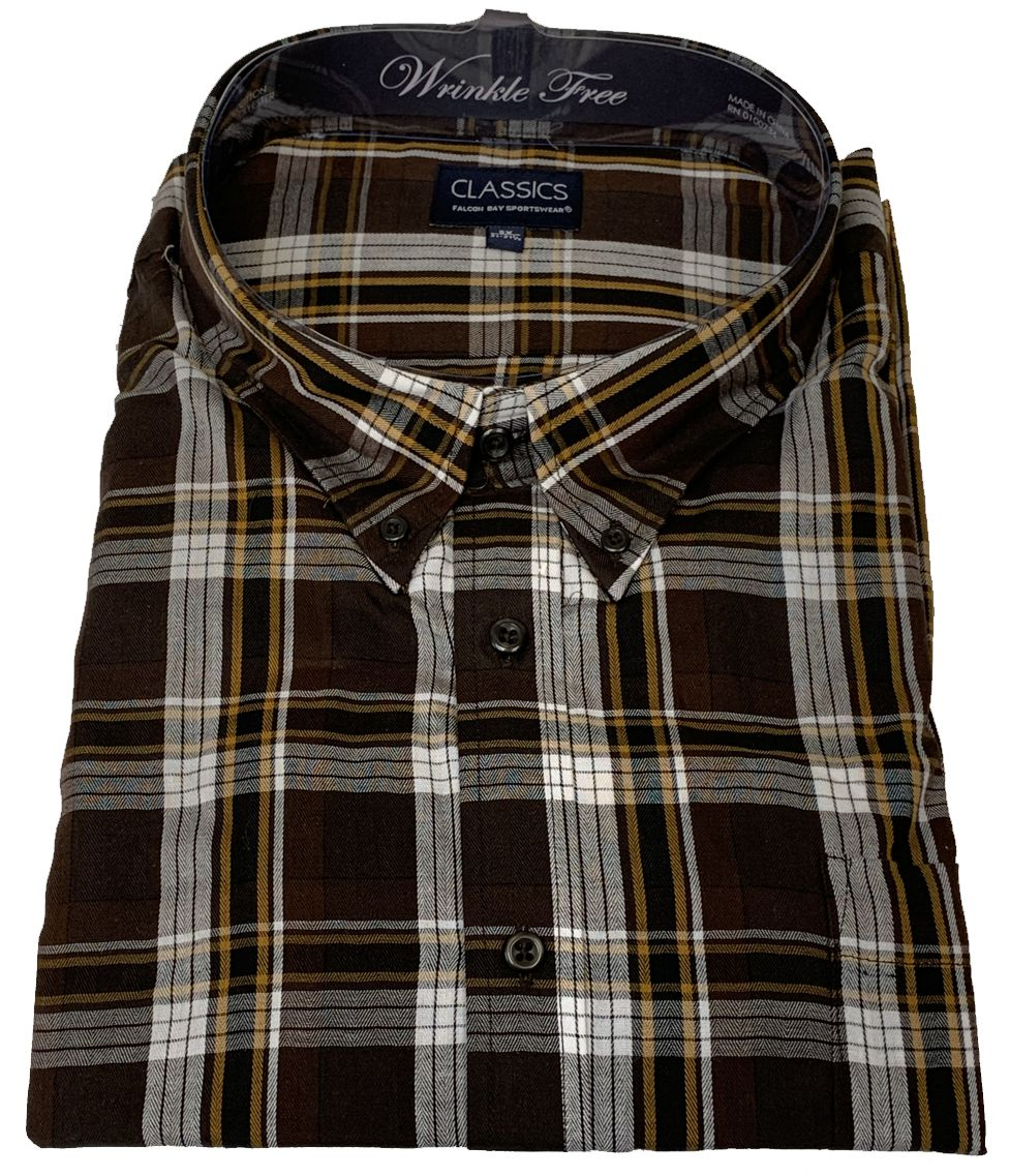 Falcon Bay Classics Brown Plaid Woven Dress Shirt