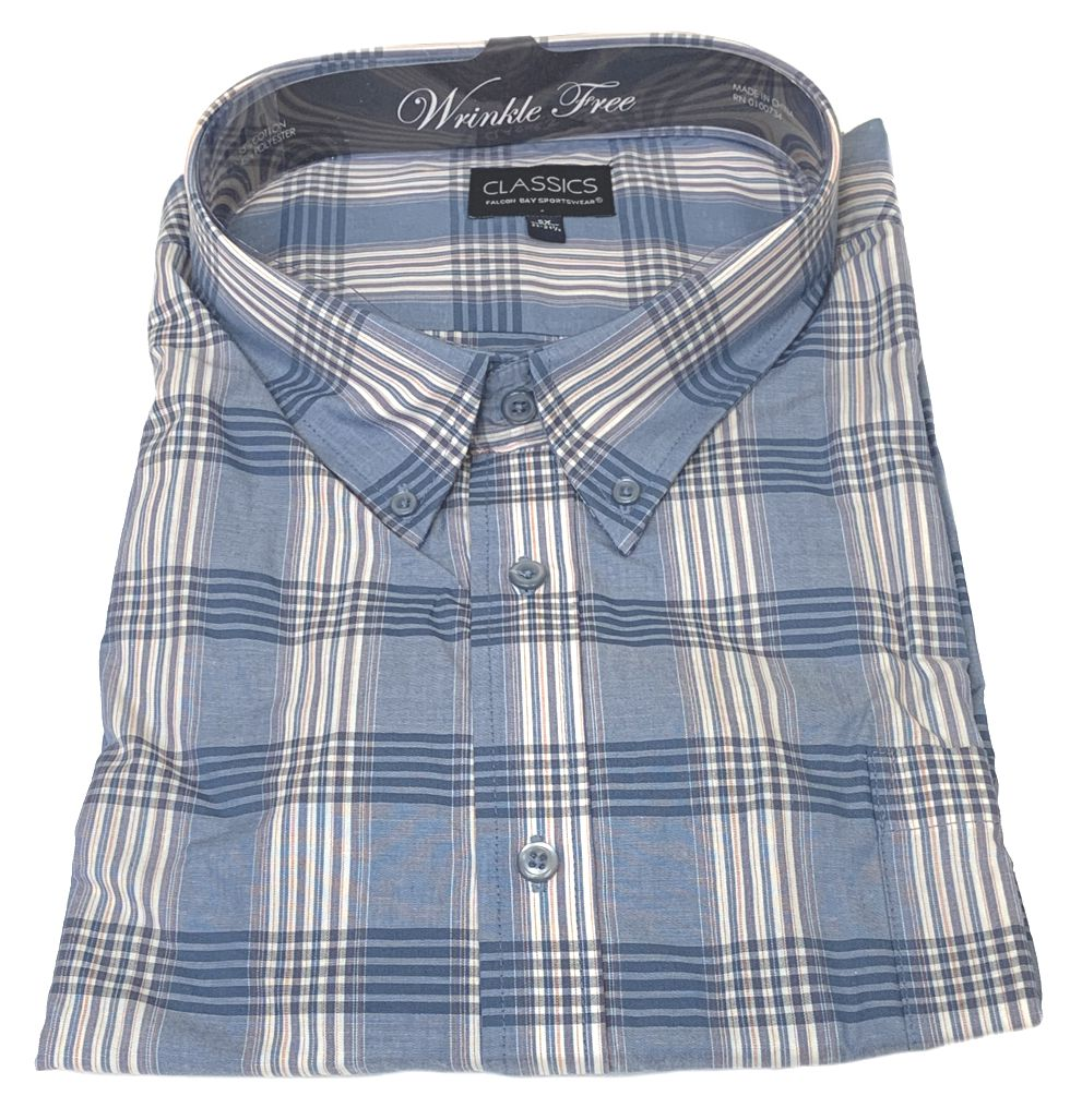 Falcon Bay Classics Light Blue Plaid Woven Dress Shirt