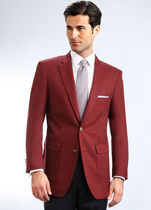 Mens Classic Single Breasted Burgundy Blazer-1
