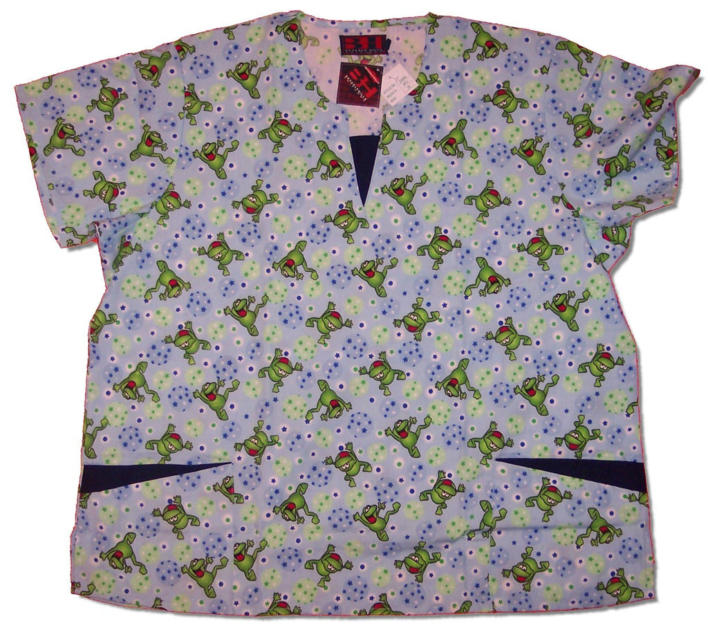 Printed Round Neck Scrub Top With V-Notch Insert-1