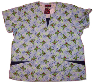 Printed Round Neck Scrub Top With V-Notch Insert
