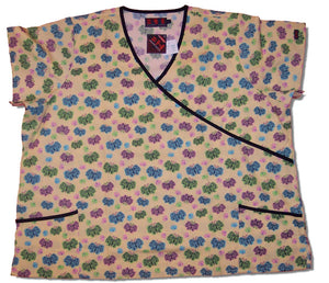 "Printed Wrap Style Scrub Top With 1/4"" Trim"
