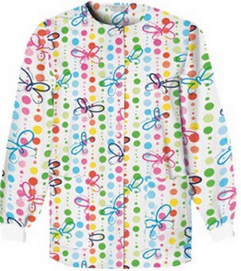 Plus Size Printed Scrub Warmup Jacket-1
