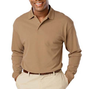 Blue Generation Tan Long Sleeve Pique Polo Closeout