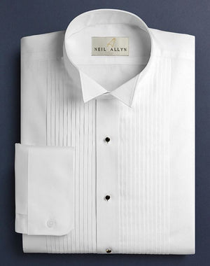 Neil Allyn White Wing Collar 1/4 Pleat Tuxedo Shirt