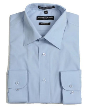 Men's Broadcloth Blue Conventional Cuff Dress Shirt