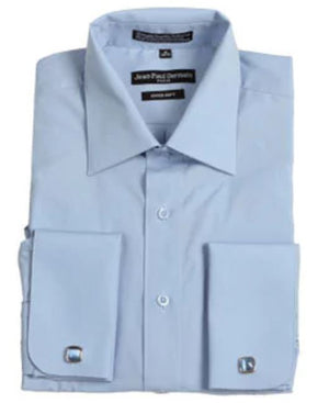 Men's Broadcloth Blue French Cuff Dress Shirt