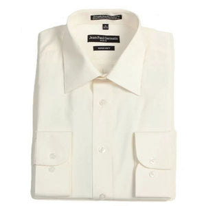 Men's Broadcloth bone Conventional Cuff Dress Shirt