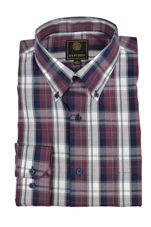 FX Fusion Burgundy Navy Multi Plaid Easy Care Woven Dress Shirt