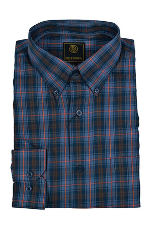 FX Fusion Navy Orange Multi Plaid Easy Care Woven Dress Shirt