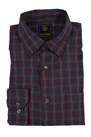 FX Fusion Burgundy Charcoal Rectangles Easy Care Woven Dress Shirt