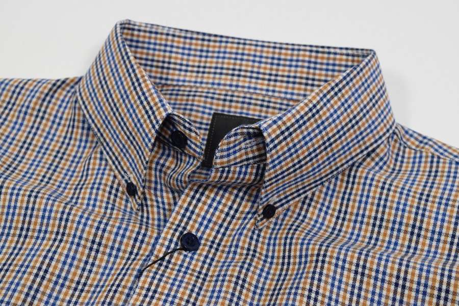 FX Fusion Gold/Blue Easy Care Woven Dress Shirt-1