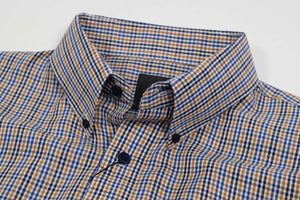 FX Fusion Gold/Blue Easy Care Woven Dress Shirt