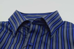 FX Fusion Silver/Royal Easy Care Woven Dress Shirt