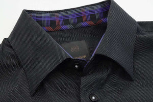 FX Fusion Black/White Easy Care Woven Dress Shirt