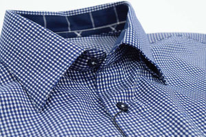 FX Fusion Navy/White Easy Care Woven Dress Shirt