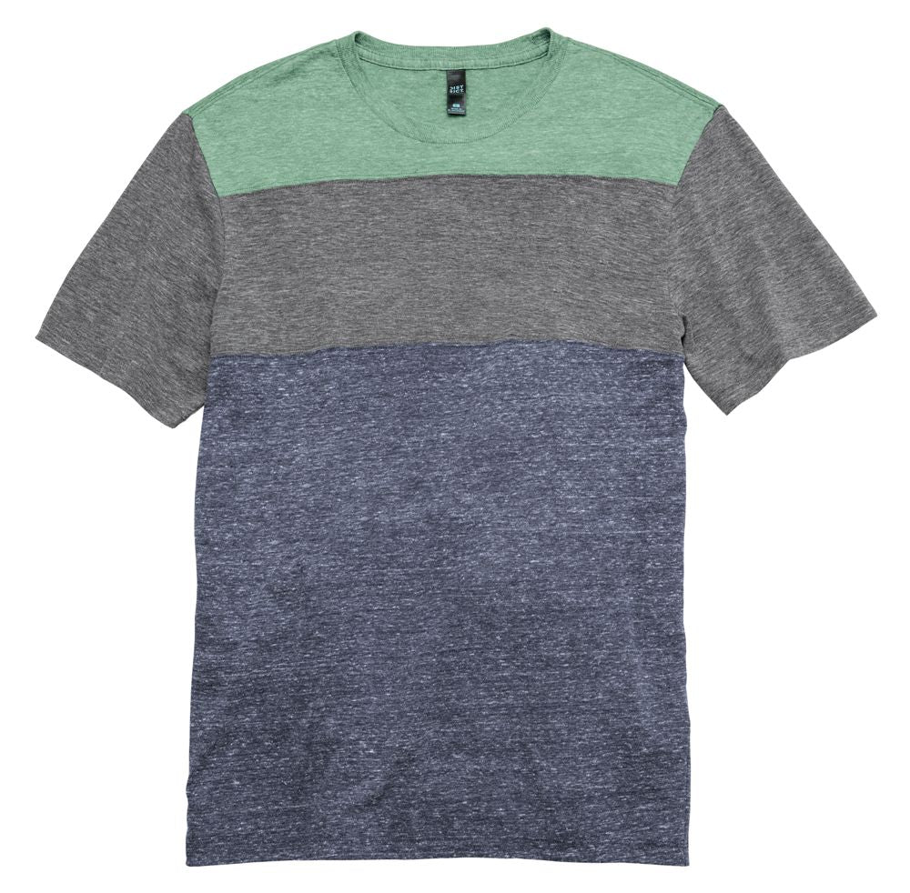 Mens Tri-Blend Pieced Crewneck Tee Closeout-1