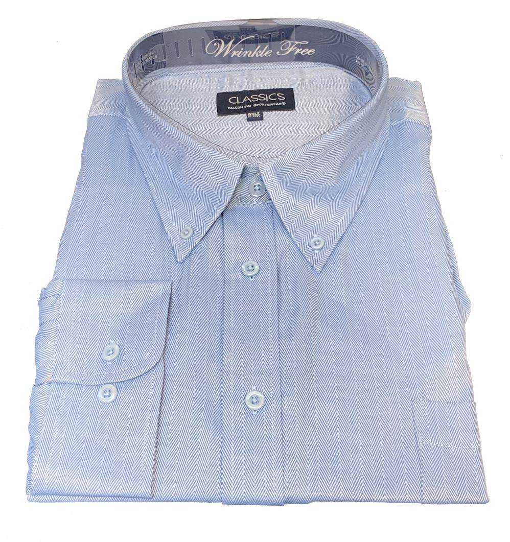 Falcon Bay Classics French Blue Herringbone Woven Dress Shirt