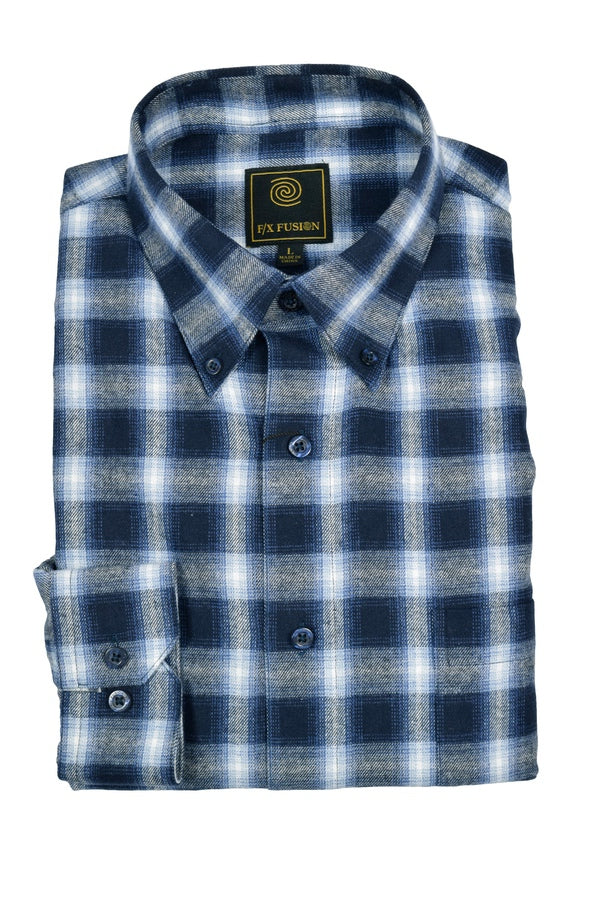 FX Fusion Navy Multi Plaid Button Down Flannel Shirt