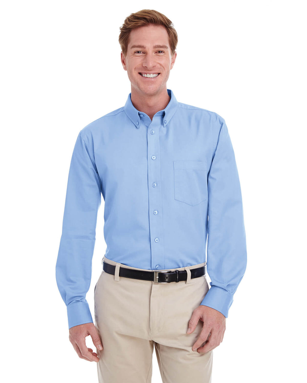 Harriton Men's 100% Cotton Long-Sleeve Twill Shirt with Teflon™ Closeout-2
