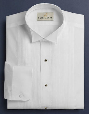 Neil Allyn White Wing Collar 1/8 Pleat Tuxedo Shirt