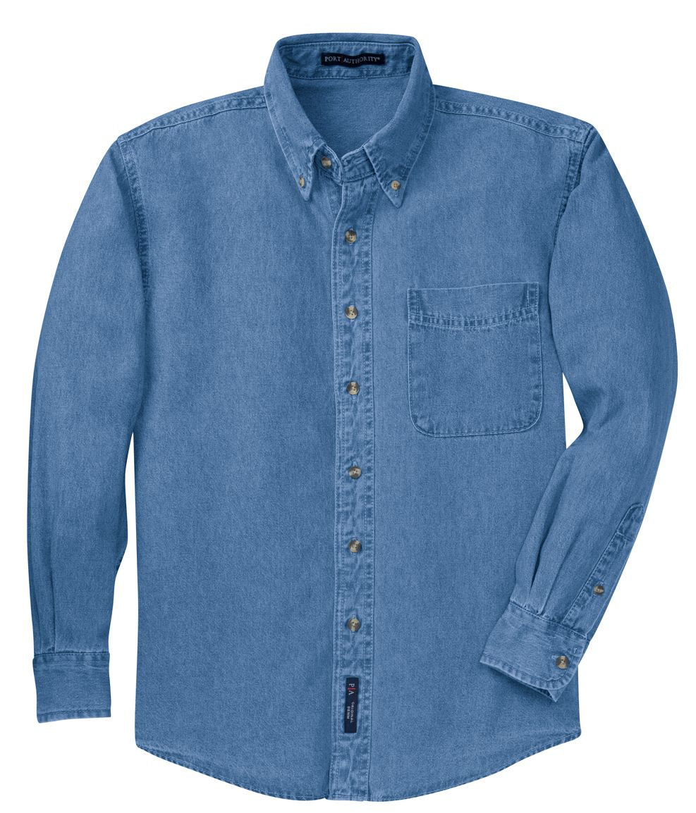 Port & Company Long Sleeve Denim Shirt-2