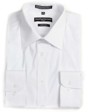 Men's Broadcloth White Conventional Cuff Dress Shirt