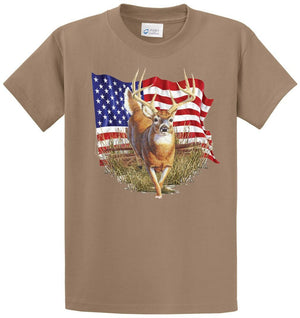 Deer With Flag Printed Tee Shirt