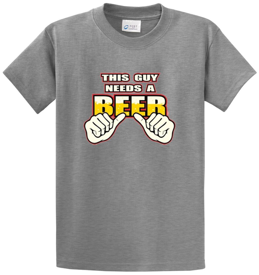 This Guy Needs A Beer Printed Tee Shirt-1
