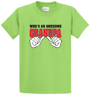 Whos An Awesome Grandpa Printed Tee Shirt