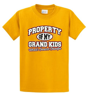 Property Of Grandkids-Grandpa Printed Tee Shirt