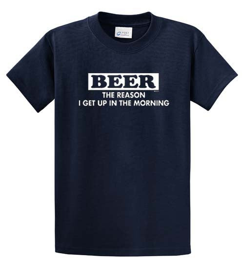 Beer Reason To Get Up Printed Tee Shirt-1